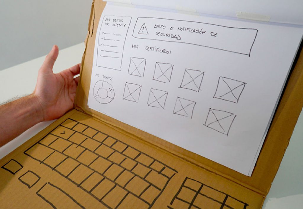 Web wireframe in a prototype